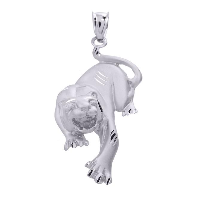 Sterling Silver Diamond Cut Matte Finish Tiger Pendant