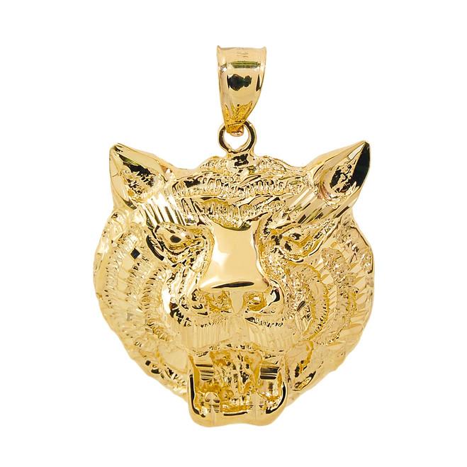 Yellow Gold Diamond Cut Tiger Head Charm Pendant