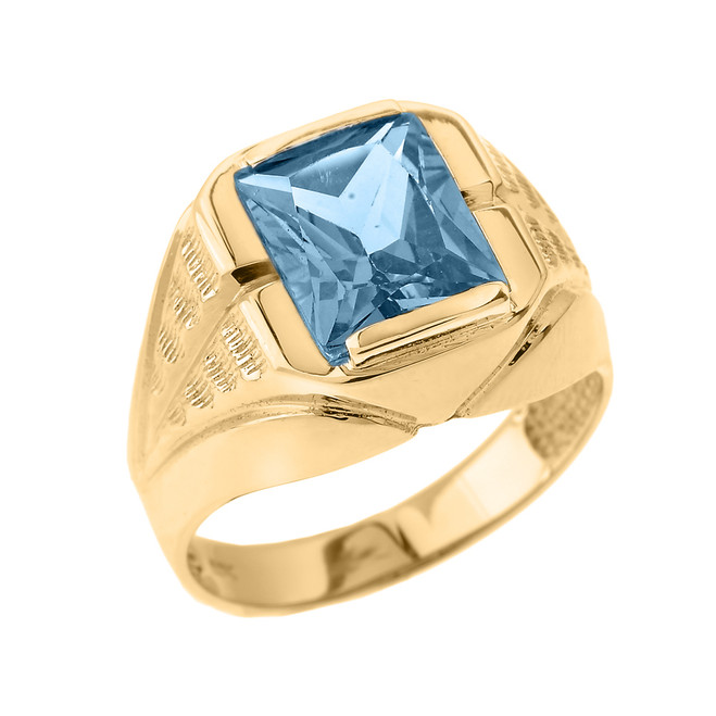 Yellow Gold Aquamarine Gemstone Men's Ring