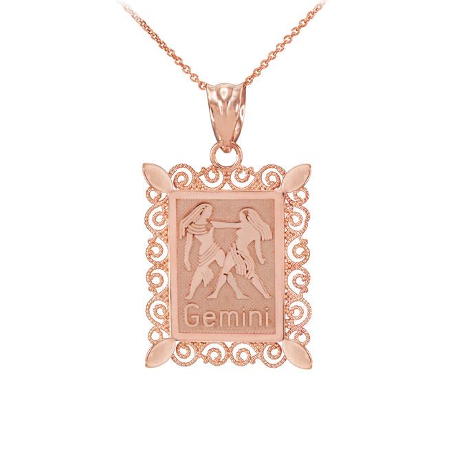 Rose Gold Gemini Zodiac Sign Filigree Square Pendant Necklace
