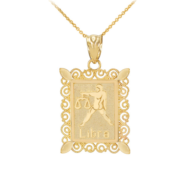 Gold Libra Zodiac Sign Filigree Square Pendant Necklace