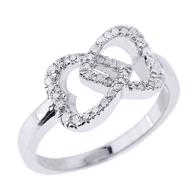 White Gold CZ Infinity Double Heart Promise Ring