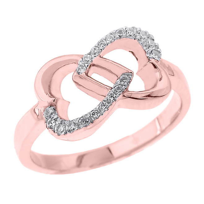 Rose Gold Infinity Double Heart CZ Promise Ring