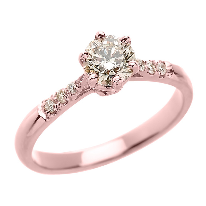 14k Rose Gold 6 Prongs Diamond Engagement Solitaire Ring