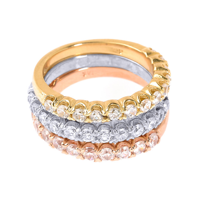 14k Tri Color Gold Diamond Stackable 3-Piece Wedding Ring Set