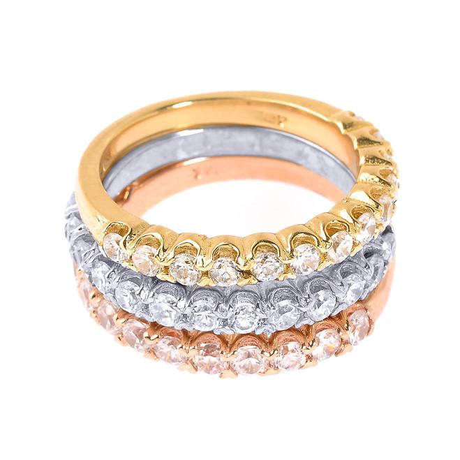 Tri Color Gold CZ Stackable 3-Piece Wedding Ring Set