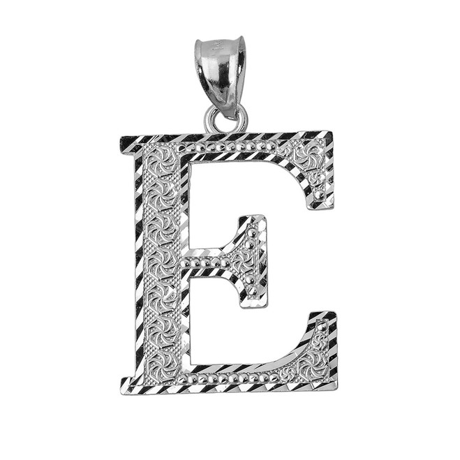 Initial E Silver Charm Pendant