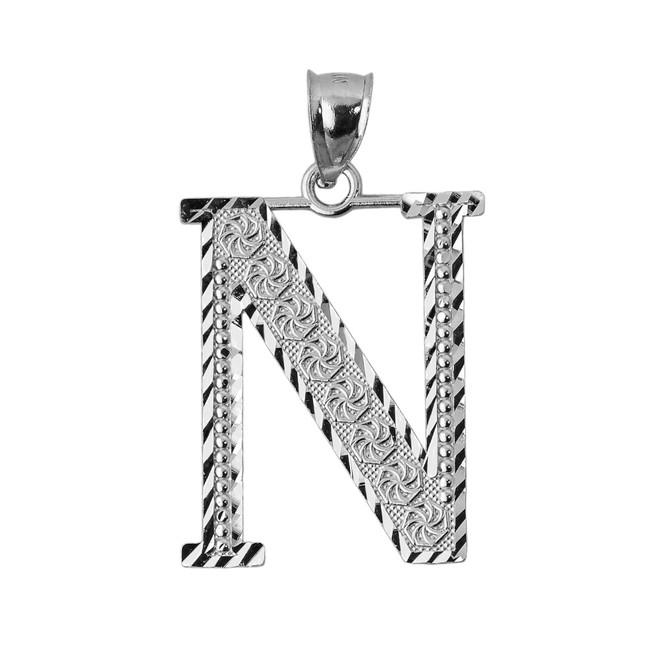 Initial N Silver Charm Pendant