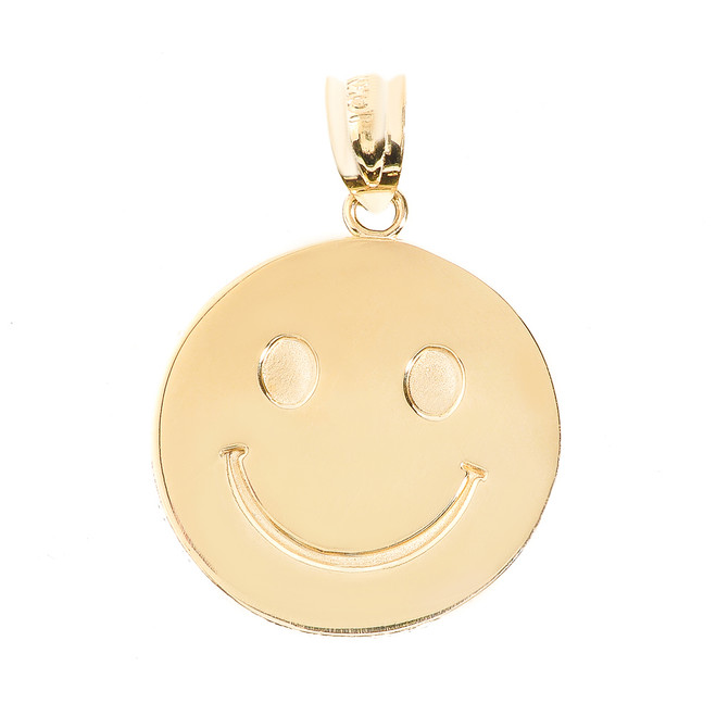 Yellow Gold Smiley Face Disc Pendant