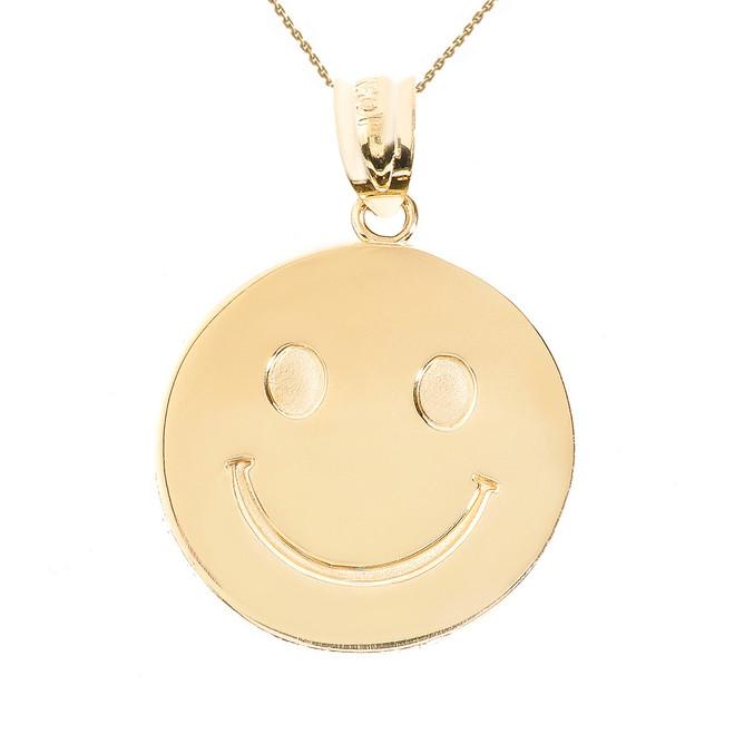 Yellow Gold Smiley Face Disc Pendant