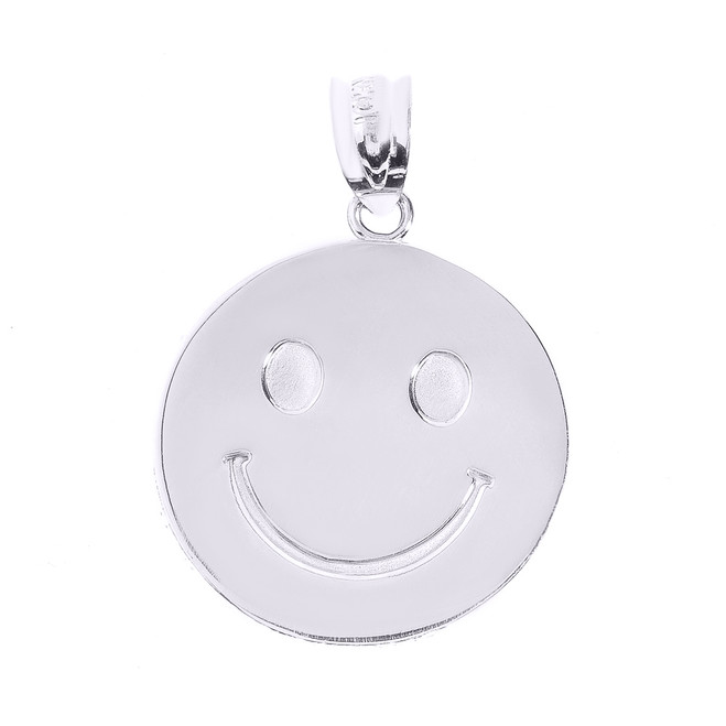 Sterling Silver Smiley Face Disc Pendant