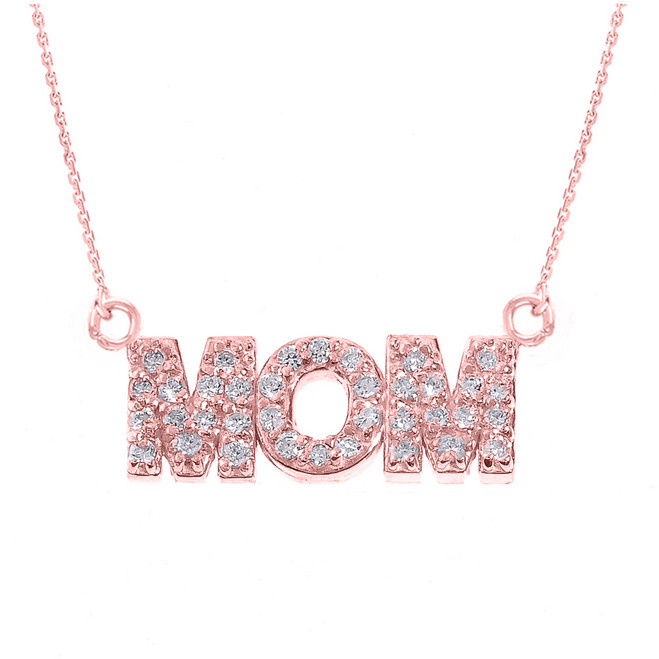"14 Rose Gold ""MOM"" CZ Pendant Necklace"