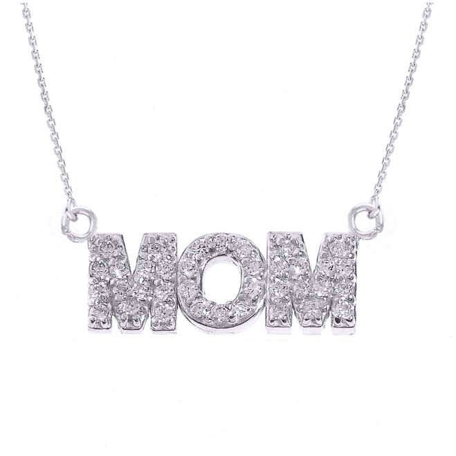 "Sterling Silver ""MOM"" CZ Pendant Necklace"