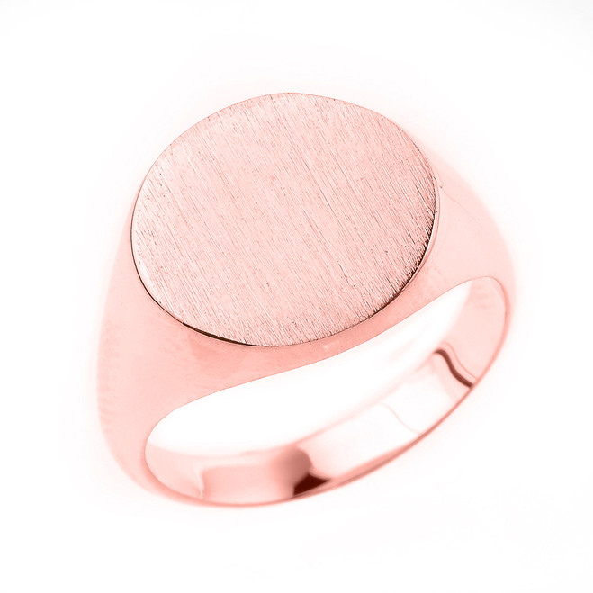 Engravable Men's Signet Ring in Solid Rose Gold
