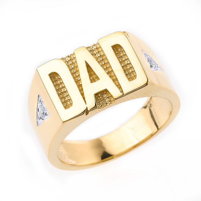 "Solid Yellow Gold Diamond ""DAD"" Men's Ring"