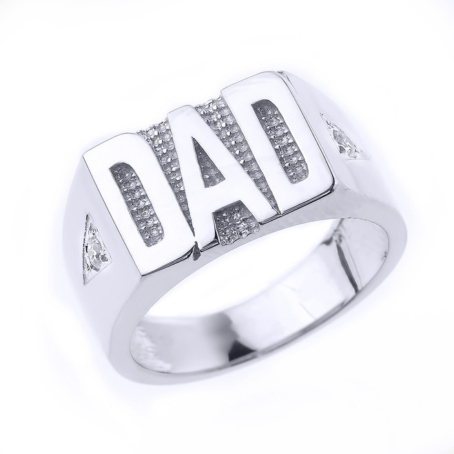 "Solid White Gold  Diamond ""DAD"" Men's Ring"