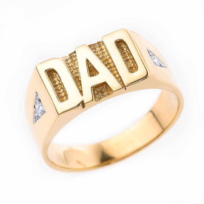 "Yellow Gold Diamond ""DAD"" Men's Ring"