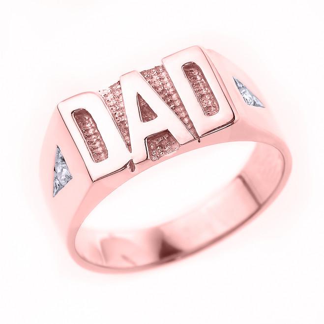 """Rose Gold Diamond """"DAD"""" Men's Ring"""