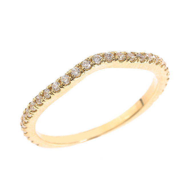 14k Yellow Gold Chevron Stackable CZ Wedding Band