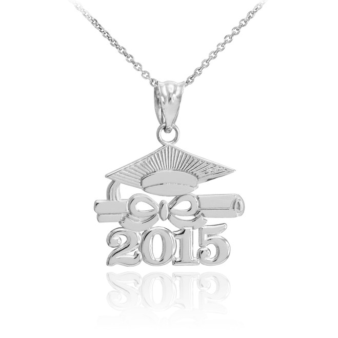 "White Gold ""CLASS OF 2015"" Graduation Pendant Necklace"
