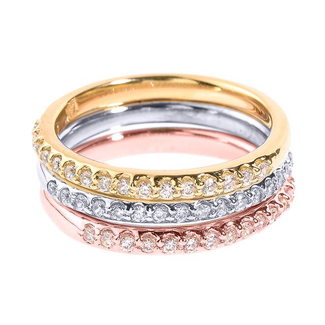 14k Tri Color Gold CZ Stackable 3-Piece Wedding Set