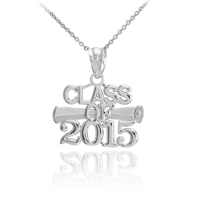 Silver 'CLASS OF 2015' Graduation Charm Pendant Necklace