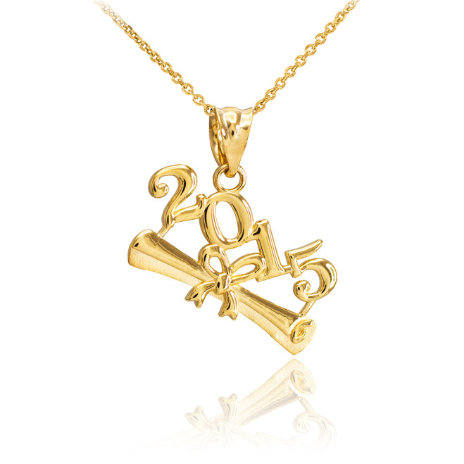2015 Class Graduation Gold Pendant Necklace