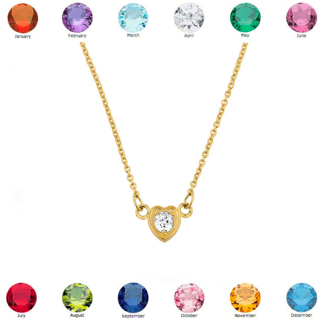 14K Yellow Gold CZ Dainty Heart Necklace