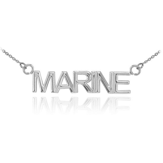 14K White Gold MARINE Necklace
