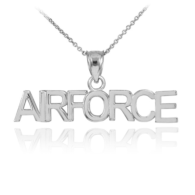 White Gold AIRFORCE Pendant Necklace