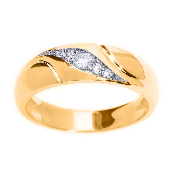 Yellow Gold Men's Diamond Wedding Ring