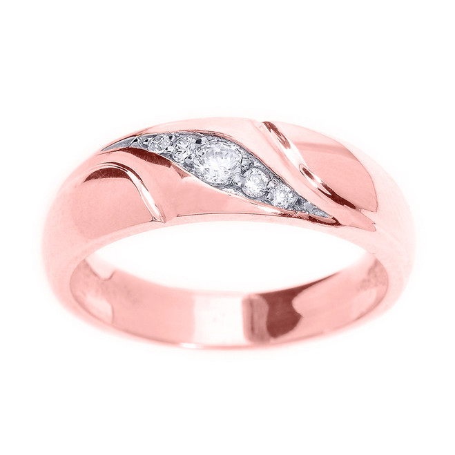Rose Gold Men's Diamond Wedding Ring