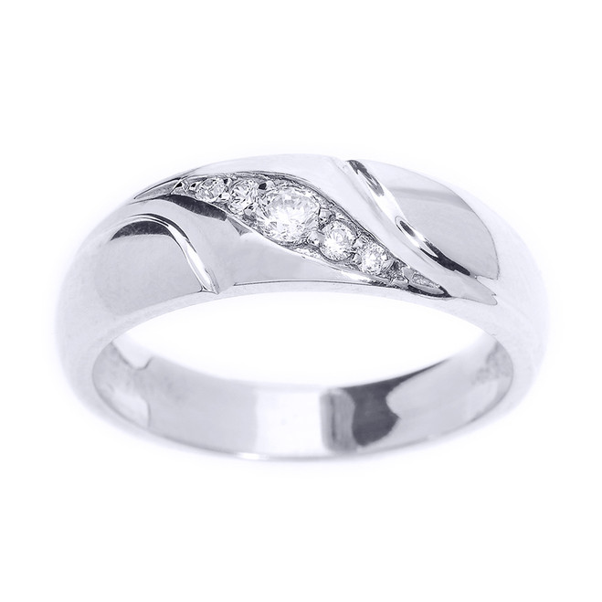 Sterling Silver Men's Diamond Wedding Ring
