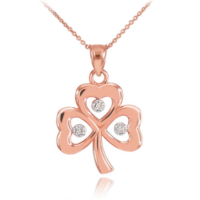 Rose Gold 3-Leaf Diamond Clover Pendant Necklace