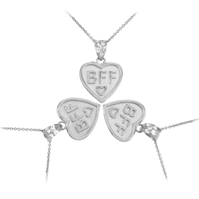 Sterling Silver 3pc 'BFF' Heart Pendant Necklace Set
