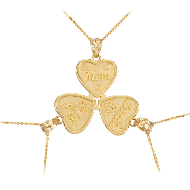 3pc Gold 'Mom' 'Big Sis' 'Little Sis' Heart Pendant Necklace Set