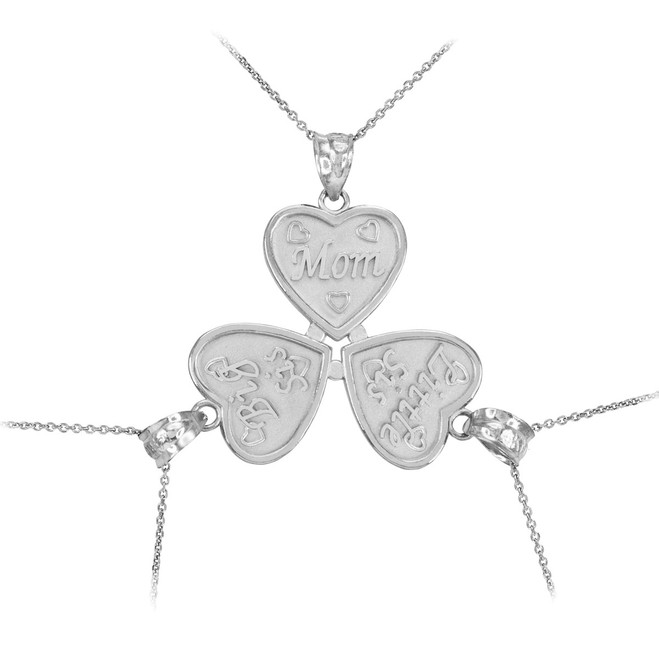Sterling Silver 3pc 'Mom' 'Big Sis' 'Little Sis' Heart Pendant Necklace Set
