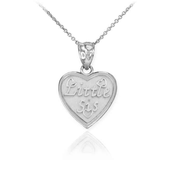 White Gold 'LITTLE SIS' Heart Pendant Necklace