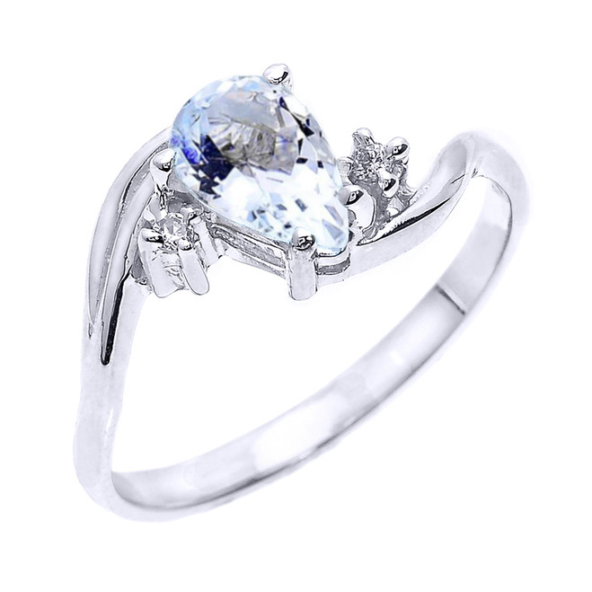 White Gold Pear Shaped Aquamarine and Diamond Proposal Ring