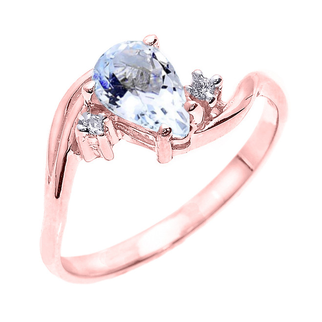 Rose Gold Pear Shaped Aquamarine and Diamond Proposal Ring