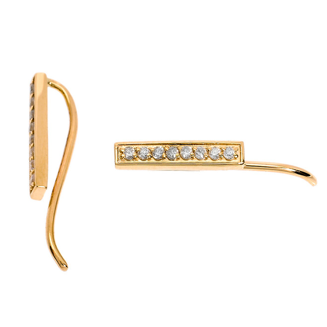 14k Yellow Gold Diamond Bar Ear Cuffs