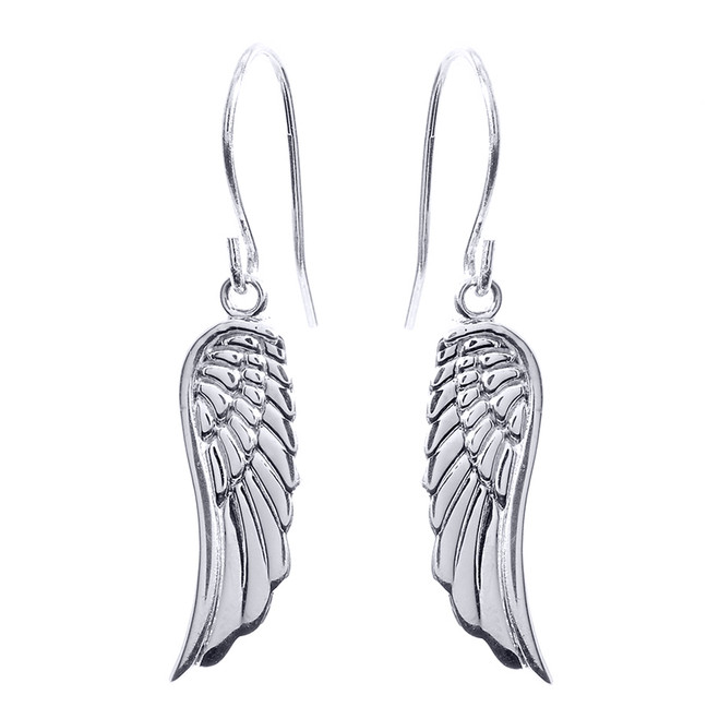 White Gold Angel Wings Earrings
