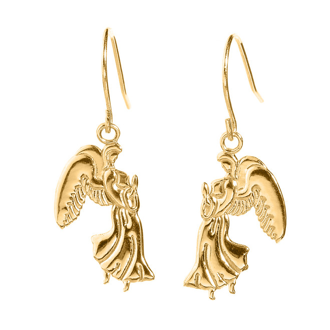 Yellow Gold Praying Angels Earrings