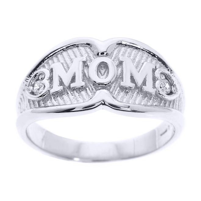 "White Gold ""MOM"" Diamond Ring"