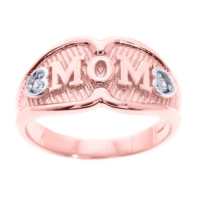 "Rose Gold ""MOM"" Diamond Ring"