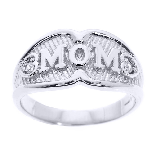 "Sterling Silver ""MOM"" Diamond Ring"