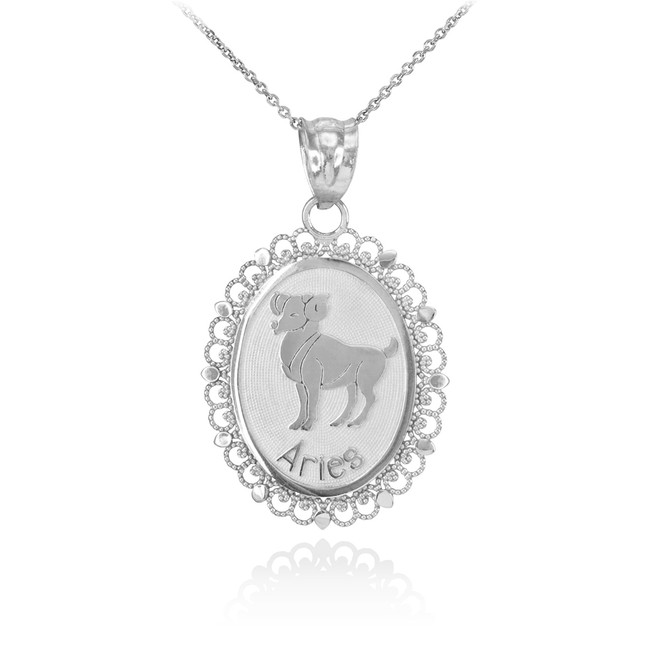 Polished White Gold Aries Zodiac Sign Oval Pendant Necklace
