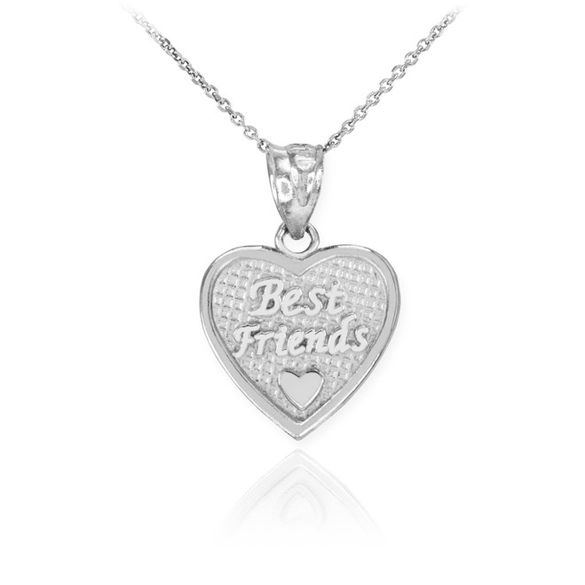 White Gold 'Best Friends' Heart Charm Necklace