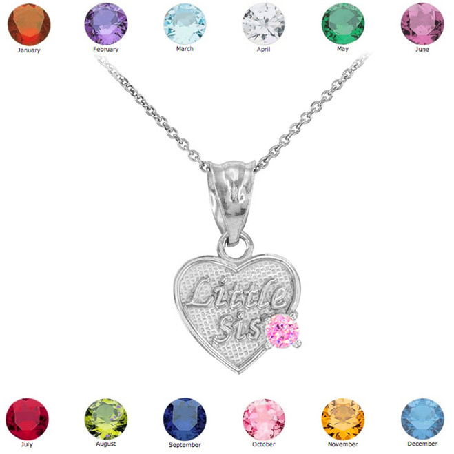 Sterling Silver 'Little Sis' CZ Birthstone Heart Necklace