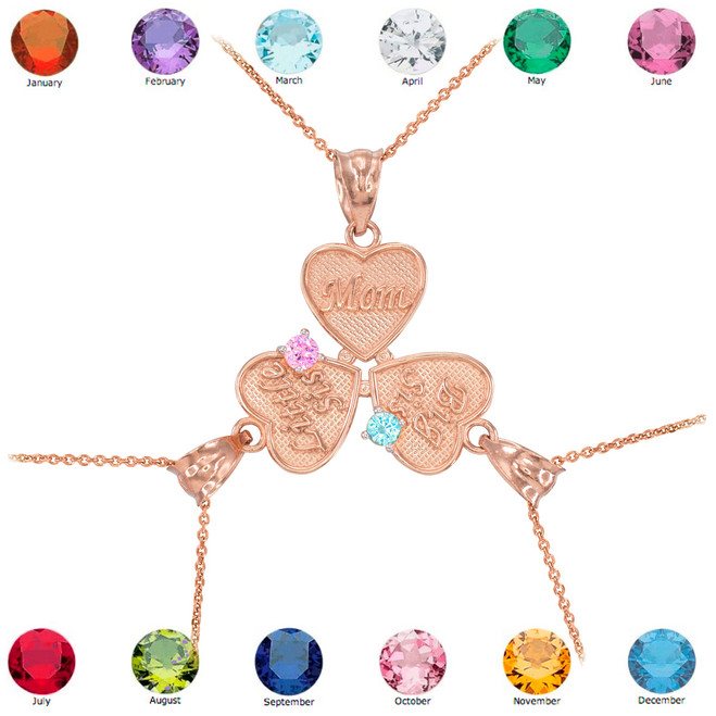 3pc Rose Gold 'Mom' 'Big Sis' 'Little Sis' Dual Birthstone CZ Heart Necklace Set